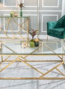 Urban Deco Maze Glass and Gold Coffee Table