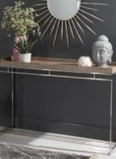 Daly Washed Mango Wood Console Table - Stainless Steel Chrome Base