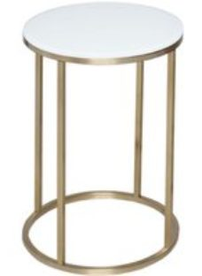 Westminster White Glass and Brass Round Side Table